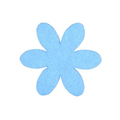 Деко фигурка цвете, филц, 50 mm, небесно синьо