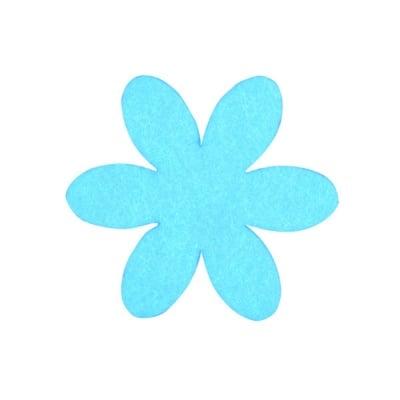 Деко фигурка цвете, филц, 50 mm, турско синьо