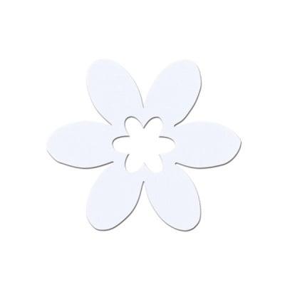 Деко фигурка цвете, филц, 65 mm, бяло
