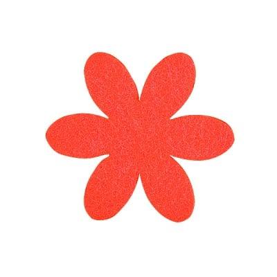 Деко фигурка цвете, филц, 65 mm, червено