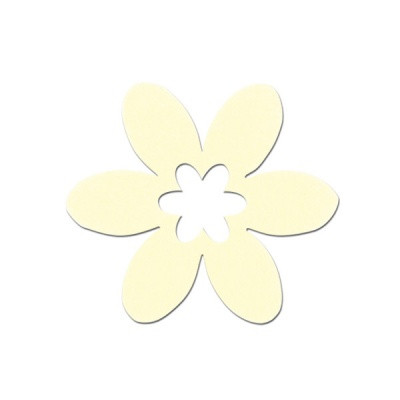Деко фигурка цвете, филц, 65 mm, кремаво