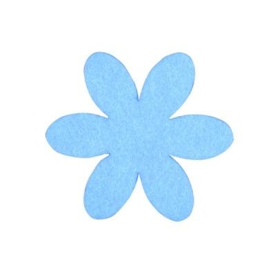Деко фигурка цвете, филц, 65 mm, небесно синьо