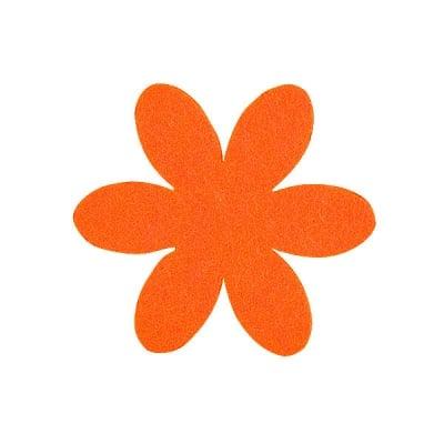 Деко фигурка цвете, филц, 65 mm, оранжево