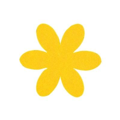 Деко фигурка цвете, филц, 65 mm, светло жълто