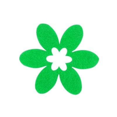 Деко фигурка цвете, филц, 65 mm, тревно зелено