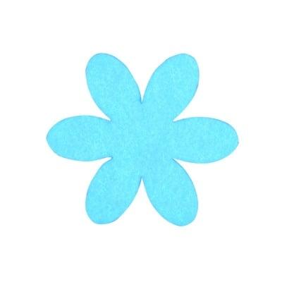 Деко фигурка цвете, филц, 65 mm, турско синьо