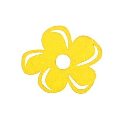 Деко фигурка цвете отстрани, филц, 40 mm, жълто