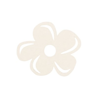 Деко фигурка цвете отстрани, филц, 40 mm, кремаво