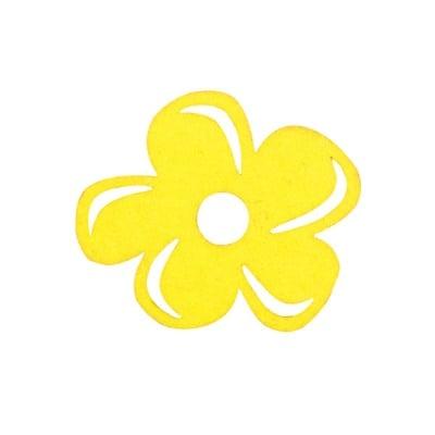 Деко фигурка цвете отстрани, филц, 40 mm, светло жълто