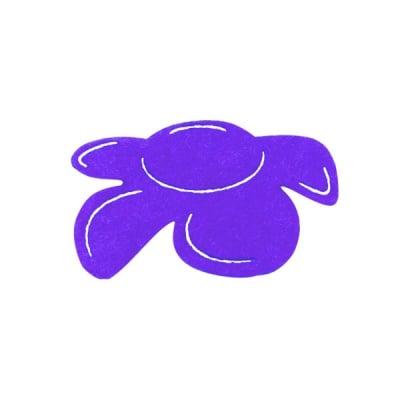 Деко фигурка цвете отстрани, филц, 40 mm, виолетово