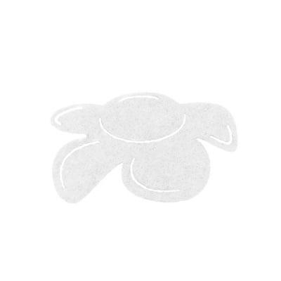 Деко фигурка цвете отстрани, филц, 50 mm, бяло