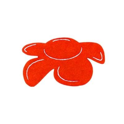 Деко фигурка цвете отстрани, филц, 50 mm, червено