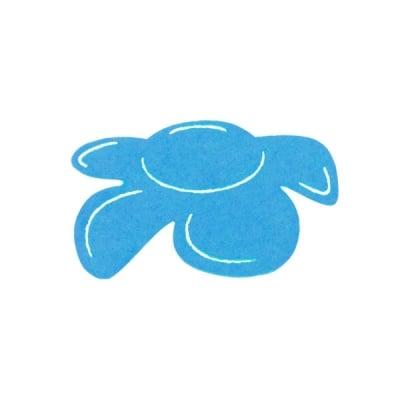 Деко фигурка цвете отстрани, филц, 50 mm, турско синьо
