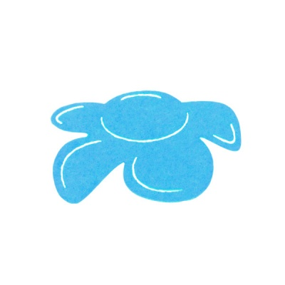 Деко фигурка цвете отстрани, филц, 60 mm, небесно синьо