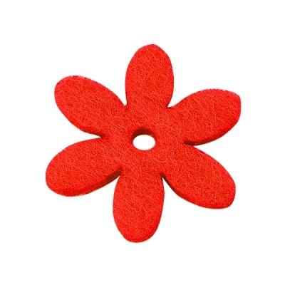 Деко фигурка цвете с отвор, филц, 25 mm, червено