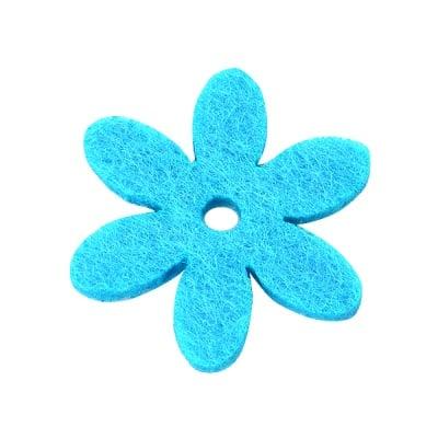 Деко фигурка цвете с отвор, филц, 25 mm, небесно синьо