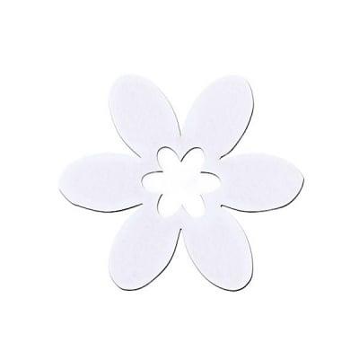 Деко фигурка цвете в цвете, филц, 30 mm, бяло