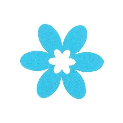 Деко фигурка цвете в цвете, филц, 45 mm, небесно синьо