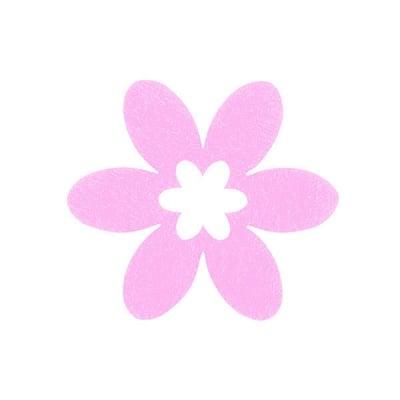 Деко фигурка цвете в цвете, филц, 45 mm, розово