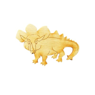 Деко фигурка динозавър Triceratops, дърво, 60 mm