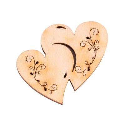 Деко фигурка две сърца с филигран, дърво, 40 mm