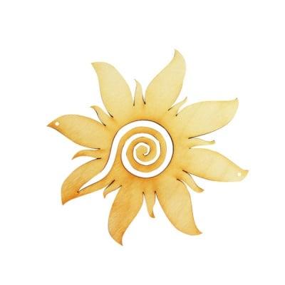 Деко фигурка греещо слънце със спирала, дърво, 120 mm