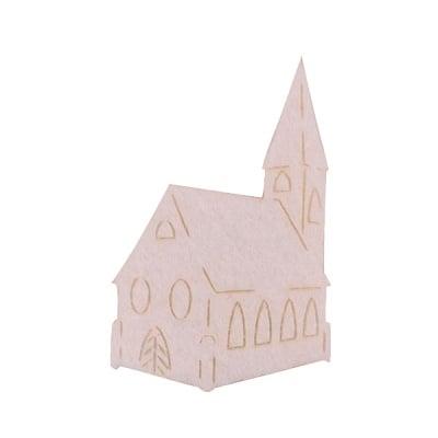 Деко фигурка катедрала, Filz, 40 mm, кремава