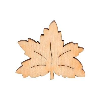 Деко фигурка кленов лист, дърво, 30 mm