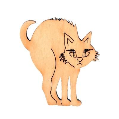 Деко фигурка котка извита, дърво, 30 mm