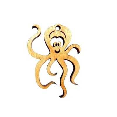 Деко фигурка октопод, дърво, 40 mm