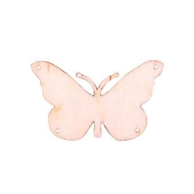 Деко фигурка пеперуда с 4 отвора, дърво, 40 mm