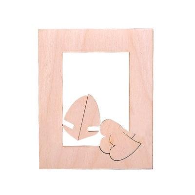 Деко фигурка рамка със сърце, дърво, 115 mm