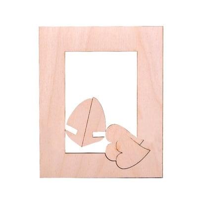 Деко фигурка рамка със сърце, дърво, 130 mm