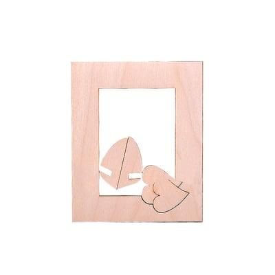 Деко фигурка рамка със сърце, дърво, 45 mm