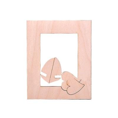 Деко фигурка рамка със сърце, дърво, 85 mm