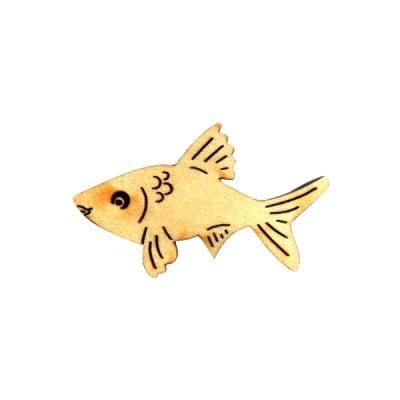 Деко фигурка рибка, дърво, 40 mm