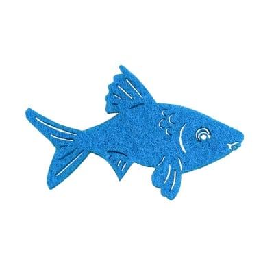 Деко фигурка рибка. Filz. 60 mm. тъмно синя