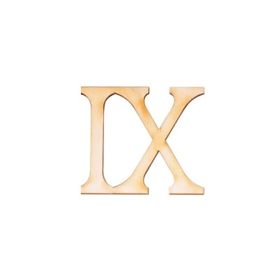 """Деко фигурка римска цифра """"IX"""", дърво, 50 mm"""