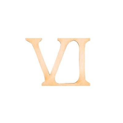 """Деко фигурка римска цифра """"VI"""", дърво, 50 mm"""