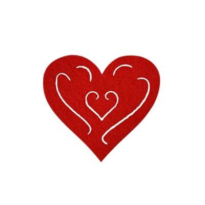 Деко фигурка сърце с филиграни, Filz, 40 mm, червено