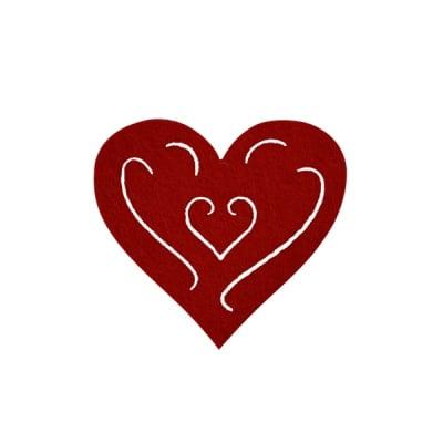 Деко фигурка сърце с филиграни, Filz, 40 mm, кафяво
