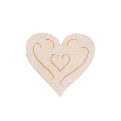 Деко фигурка сърце с филиграни, Filz, 40 mm, кремаво