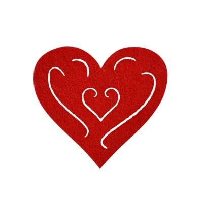 Деко фигурка сърце с филиграни, Filz, 50 mm, червено