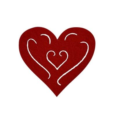 Деко фигурка сърце с филиграни, Filz, 50 mm, кафяво
