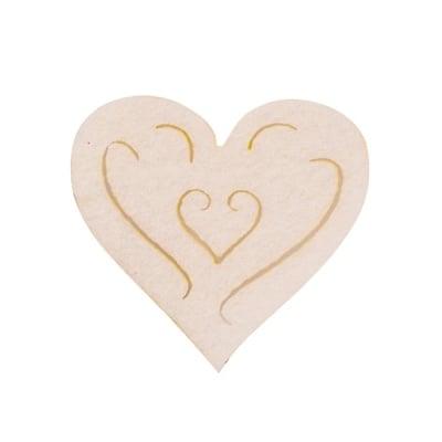 Деко фигурка сърце с филиграни, Filz, 50 mm, кремаво