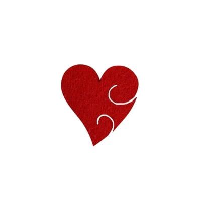 Деко фигурка сърце с фрески, Filz, 30 mm, червено