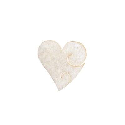 Деко фигурка сърце с фрески, Filz, 30 mm, кремаво