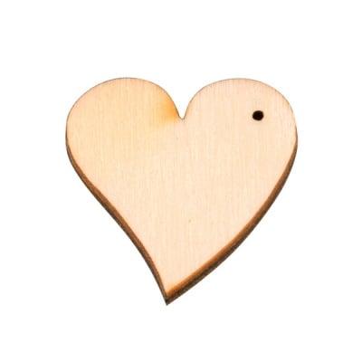 Деко фигурка сърце с отвор, дърво, 16 mm