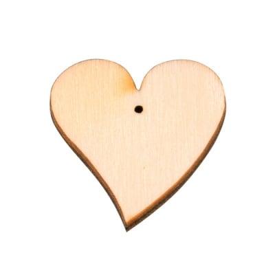 Деко фигурка сърце с отвор, дърво, 30 mm