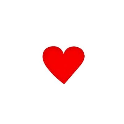 Деко фигурка сърце симетрично, Filz, 20 mm, червено